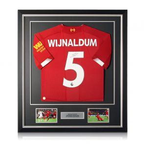 Georginio Wijnaldum Signed Liverpool Shirt. Framed