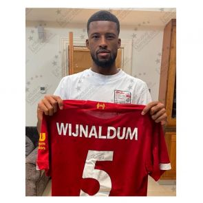 Georginio Wijnaldum Signed Liverpool Shirt. Deluxe Frame