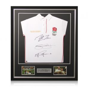 Jonny Wilkinson, Martin Johnson And Jason Robinson Signed England Rugby Shirt. Deluxe Frame