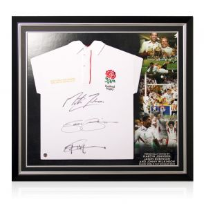 Jonny Wilkinson, Martin Johnson And Jason Robinson Signed England Rugby Shirt. Premium Frame