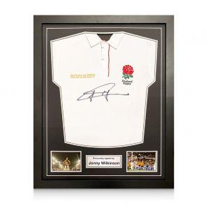 Jonny Wilkinson Signed England Rugby Shirt. Standard Frame