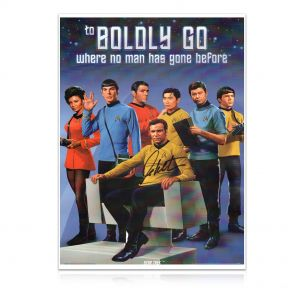 William Shatner Signed Star Trek Poster: To Boldly Go In Gift Box
