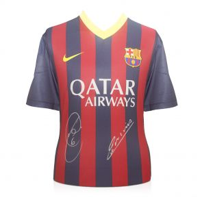 Xavi and Iniesta signed Barcelona jersey