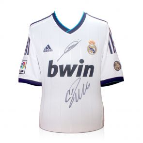 Deluxe Framed Cristiano Ronaldo And Zinedine Zidane Signed Real Madrid Football Shirt (Silver Inlay)