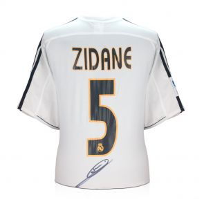Zinedine Zidane Signed Real Madrid 2003-04 Football Shirt (With Logo On Number). In Gift Box