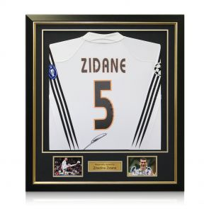 Framed Zinedine Zidane Signed Real Madrid 2003-04 Long Sleeve Football Shirt