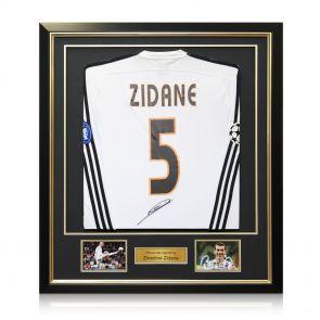 Framed Zinedine Zidane Signed Real Madrid 2003-04 Long Sleeve Football Shirt