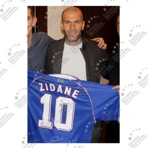 Zinedine Zidane Signed France 1998 Football Shirt - Damaged Stock