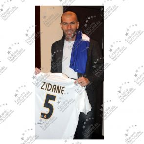 Zinedine Zidane Signed Real Madrid 2004-05 Football Shirt With Long Sleeves And LFP Badge. In Deluxe Black Frame With Gold Inlay