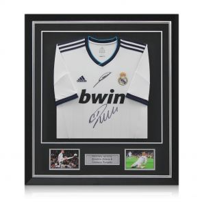 Ronaldo and Zidane signed and framed Madrid shirt