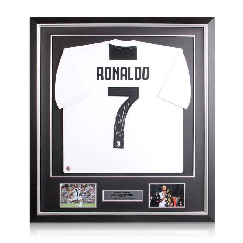 finest selection ec27a 69a61 Cristiano Ronaldo Signed Juventus Football Shirt In Deluxe Black Frame With  Silver Inlay