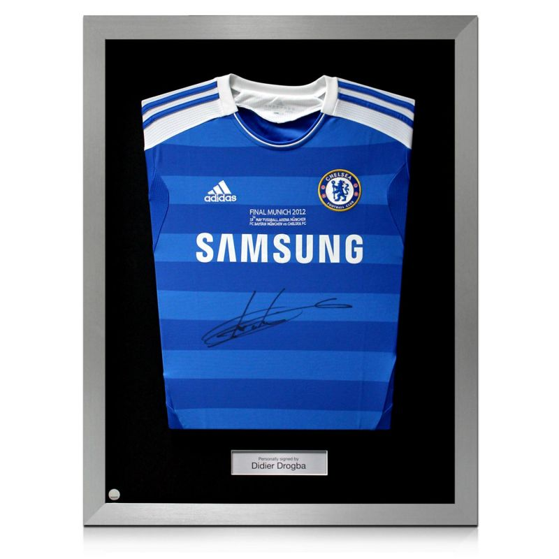 best website 530ae 8e98b Silver Framed Didier Drogba Signed Chelsea 2012 Champions League Final Shirt