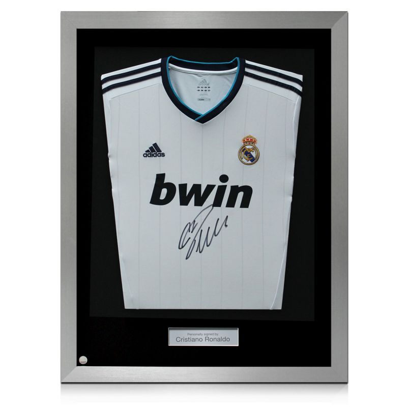 reputable site 5e541 92770 Silver Framed Cristiano Ronaldo Signed Real Madrid Football Shirt
