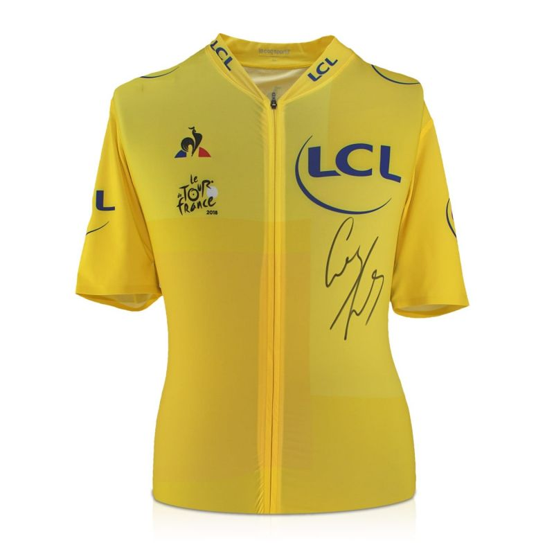 the best attitude a7ab3 bf002 Geraint Thomas Signed Tour De France 2018 Yellow Jersey