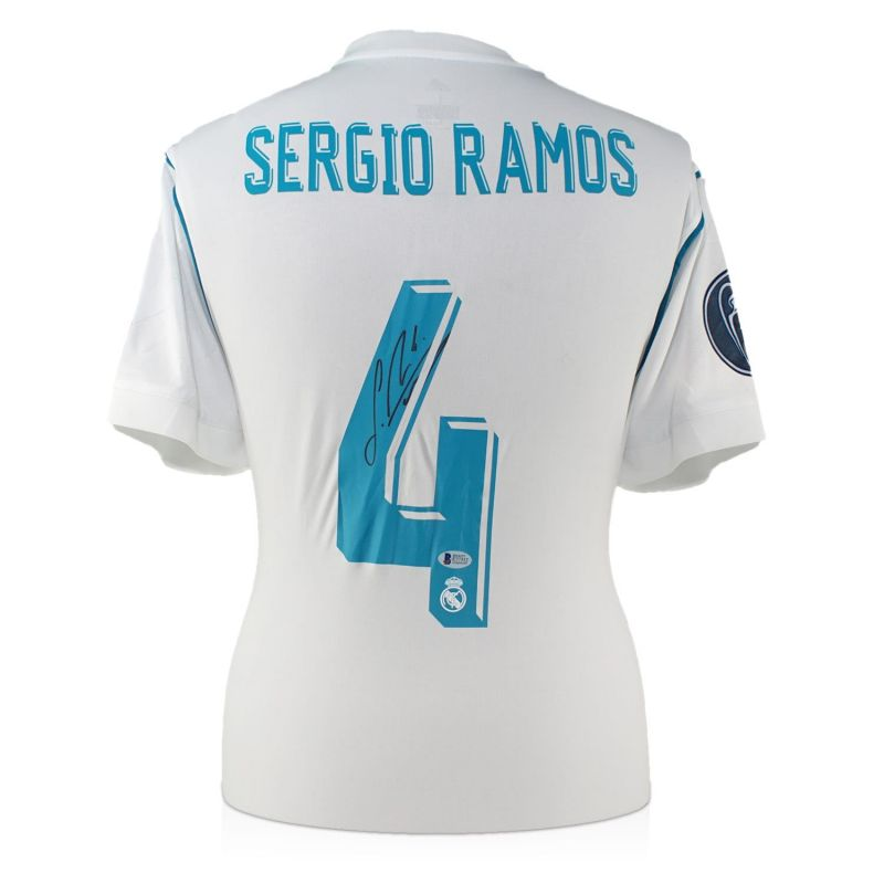 finest selection 6a9a1 03a7c Sergio Ramos Back Signed 2017-18 Real Madrid Champions League Final Shirt