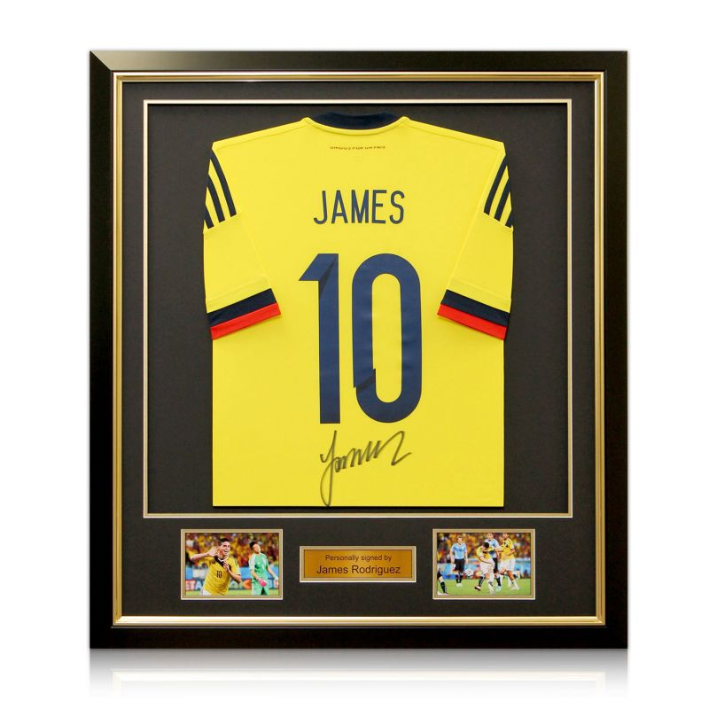 huge discount 54d10 adce7 James Rodriguez Signed Number 10 Colombia Football Shirt (Deluxe Frame With  Gold Inlay)