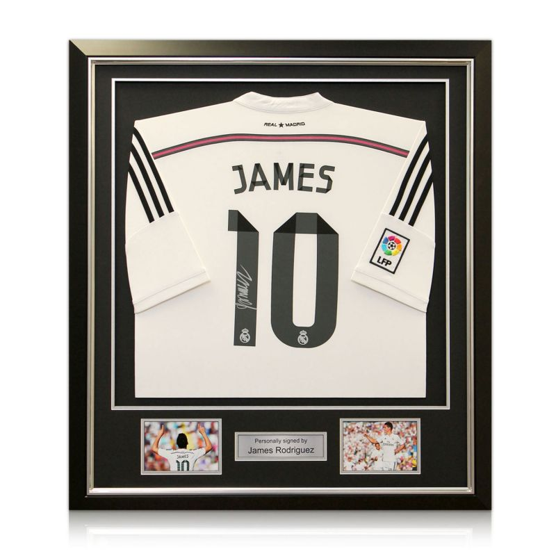 new style 6e03c 0443c James Rodriguez Signed Real Madrid Football Shirt (Deluxe Frame With Silver  Inlay)