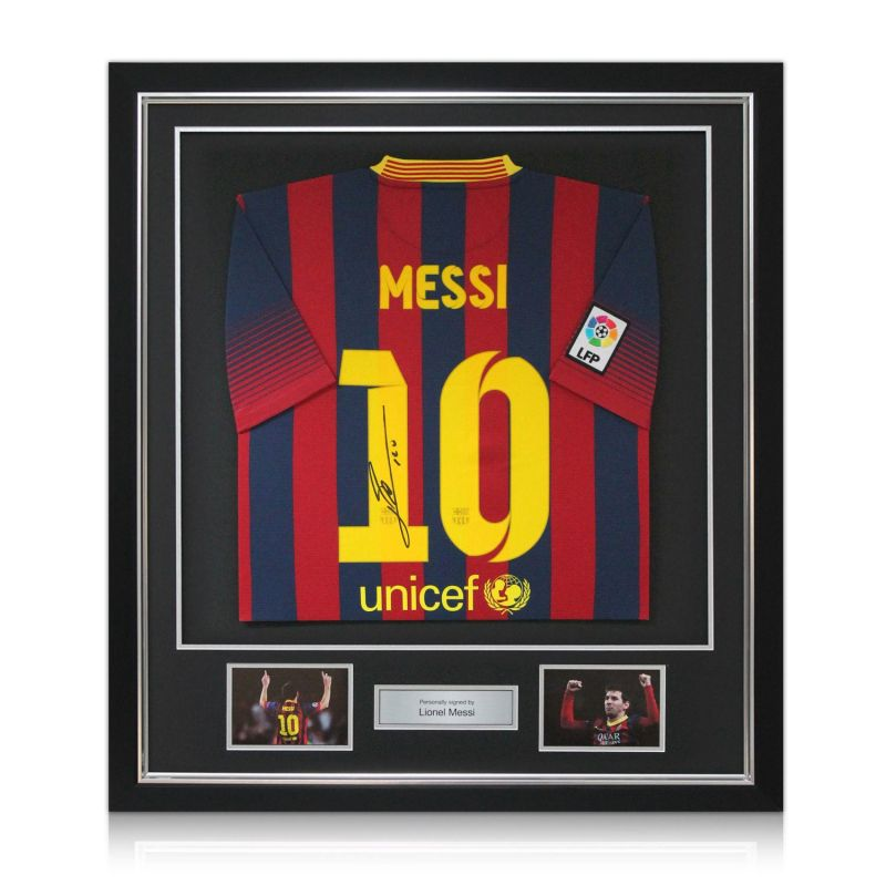 premium selection 52d88 7fb04 Deluxe Framed Lionel Messi Signed 2013-14 Barcelona Football Shirt (Silver  Inlay)