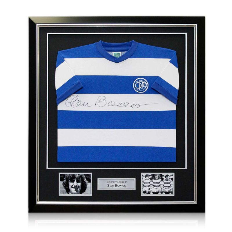 online retailer c2073 5f44e Stan Bowles Signed Queens Park Rangers Football Shirt In Deluxe Black Frame  With Silver Inlay