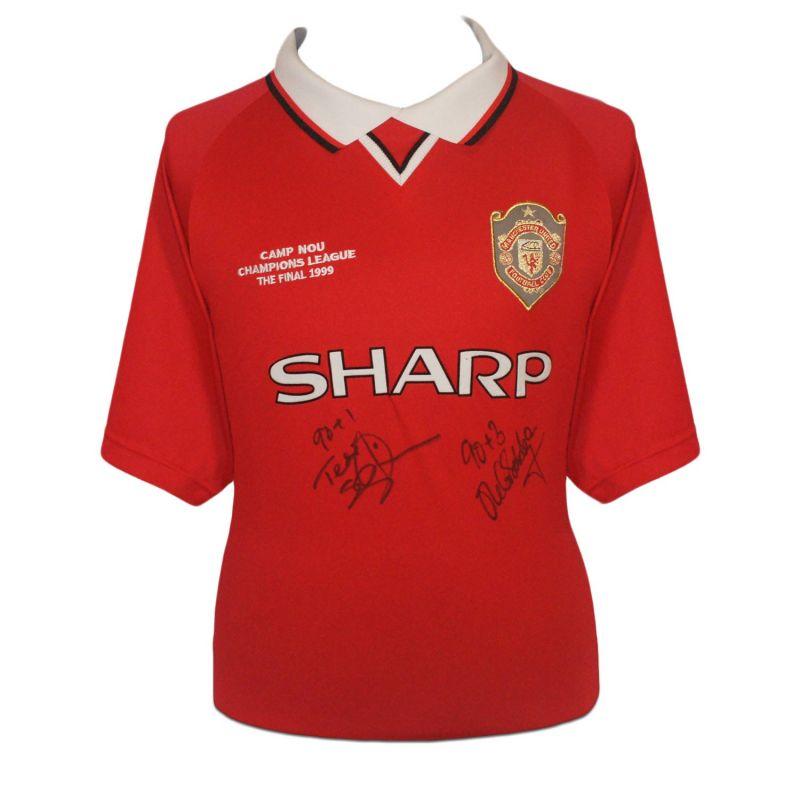 Teddy Sheringham Ole Gunnar Solskjaer Signed Manchester United Shirt With Goal Times