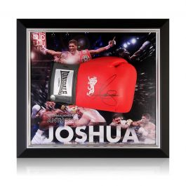 Anthony Joshua Signed Red Boxing Glove Framed