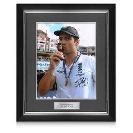 Sir Alastair Cook Signed Cricket Photo: Ashes Winner. Deluxe Frame