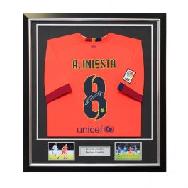 Andres Iniesta Signed 2014-15 Barcelona Away Shirt In Deluxe Black Frame With Silver Inlay