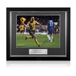 Andres Iniesta Signed Barcelona Photo: The Chelsea Goal. Deluxe Framed