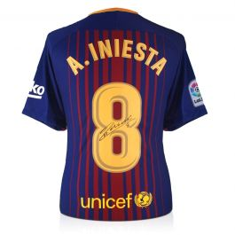 Andres Iniesta Signed 2017-18 Barcelona Home Shirt