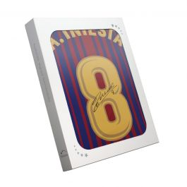 Andres Iniesta Signed 2017-18 Barcelona Home Shirt. In Gift Box