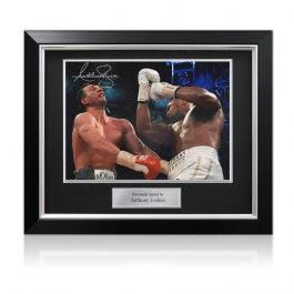 Anthony Joshua Signed Boxing Photo: The Klitschko Uppercut (Landscape) In Deluxe Black Frame With Silver Inlay