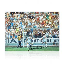 Gordon Banks Signed England Football Photo: The Pele Save