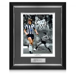 Peter Beardsley Signed Newcastle United Photo. Deluxe Frame