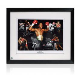Nigel Benn Signed Boxing Photo: Dark Destroyer. Framed
