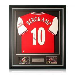 Dennis Bergkamp Signed Arsenal Shirt. Deluxe Frame