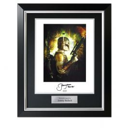 Boba Fett Signed Star Wars Poster In Deluxe Black Frame With Silver Inlay