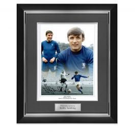 Bobby Tambling Signed Chelsea Photo. Deluxe Frame