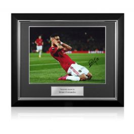 Bruno Fernandes Signed Manchester United Photo: Celebration. Deluxe Frame