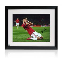 Bruno Fernandes Signed Manchester United Photo: Celebration. Framed