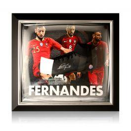 Bruno Fernandes Signed Black Football Boot Portugal Presentation. Framed