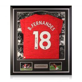 Bruno Fernandes Signed Manchester United Shirt. Luxury Frame