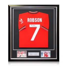 Bryan Robson Signed Manchester United 1984 Football Shirt. Framed