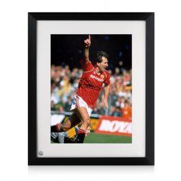 Bryan Robson Signed Manchester United Photo: Goal Celebration. Framed