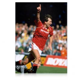 Bryan Robson Signed Manchester United Photo: Goal Celebration