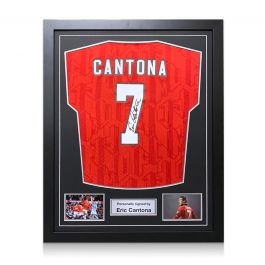 Eric Cantona Signed 1994 Manchester United Shirt. Framed