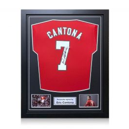 Eric Cantona Signed Manchester United 2019-20 Shirt. Framed