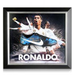 Cristiano Ronaldo Signed CR7 Framed Football Boot: Real Madrid Presentation