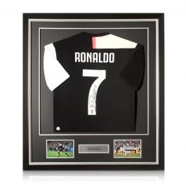 Cristiano Ronaldo Signed Juventus Football Shirt 2019-20. Deluxe Frame