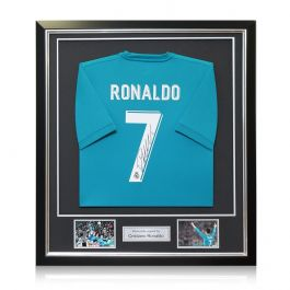 Cristiano Ronaldo Signed 2017-18 Real Madrid Third Football Shirt In Deluxe Frame