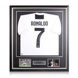 Cristiano Ronaldo Signed Juventus Football Shirt In Deluxe Black Frame With Silver Inlay